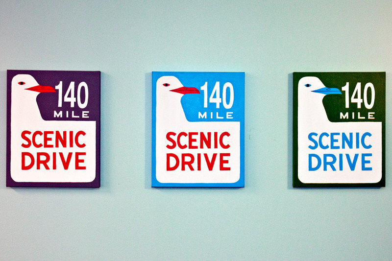 140 Mile Scenic Drive paintings for Twitter by Annie Galvin of 3 Fish Studios