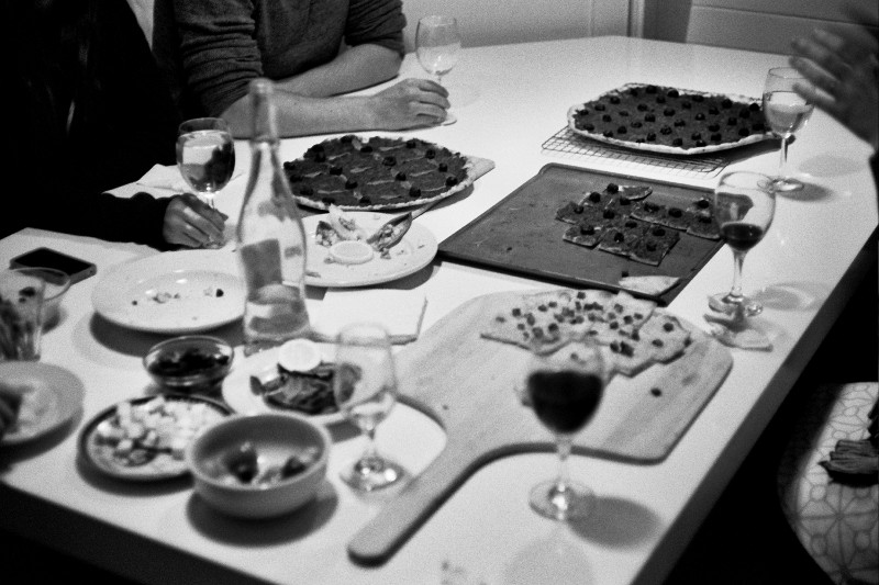 Table full of pissaladières during our Abbey St housewarming