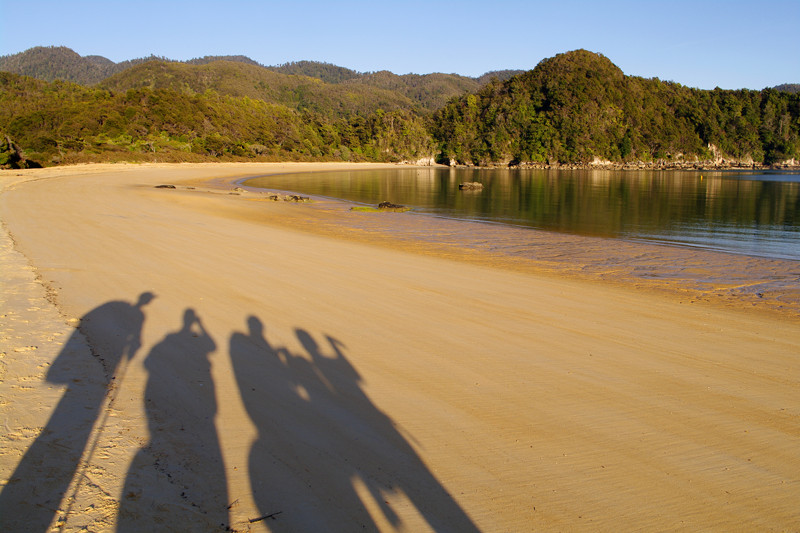 Early light casts long shadows in the untramped sand in Anchorage Bay along the Abel Tasman Coast Track