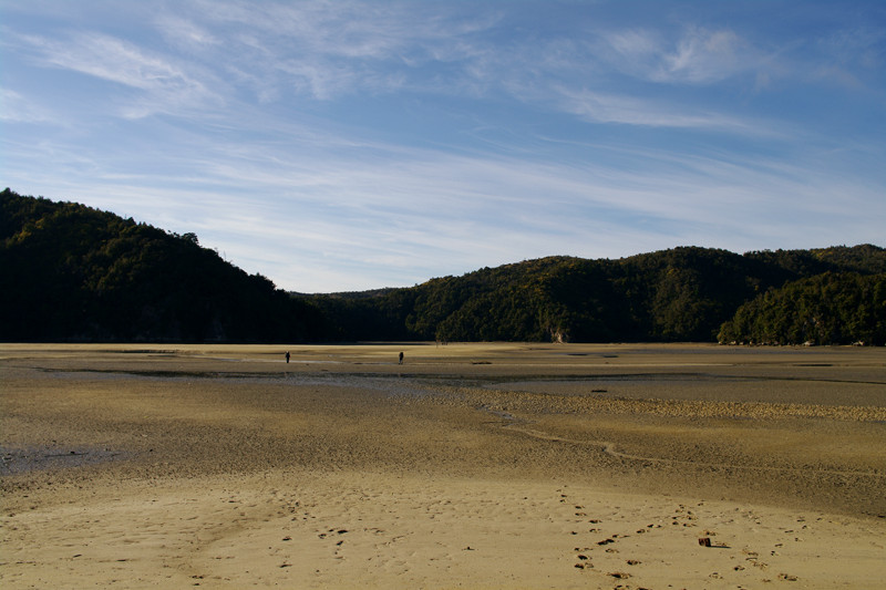 Looking back across the low tide crossing to Bark Bay along the Abel Tasman Coast Track