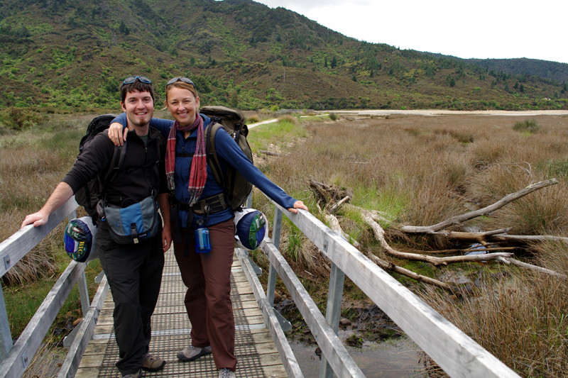 Justin and Stephanie at the start of the Abel Tasman Coast Track in Marahau