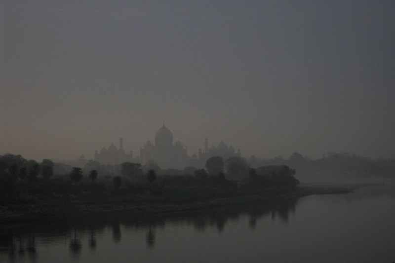 Silhouette of the Taj Mahal at dawn