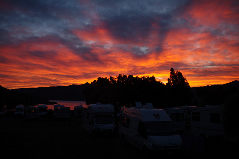 akaroa new zealand top 10 holiday park sunset