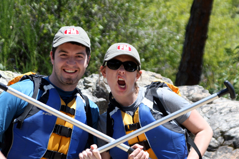 Justin and Stephanie preparing to go whitewater rafting down the South Fork of the American River