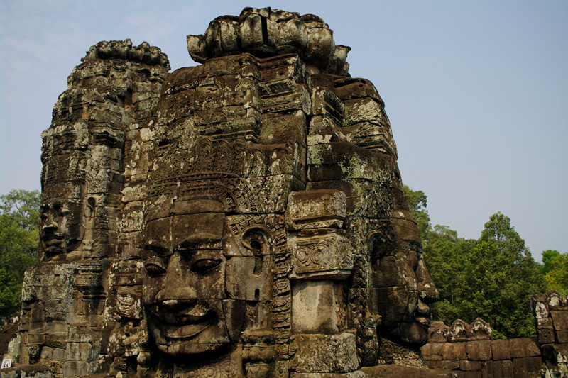 Lotus flower visible on the top of the Bayon towers
