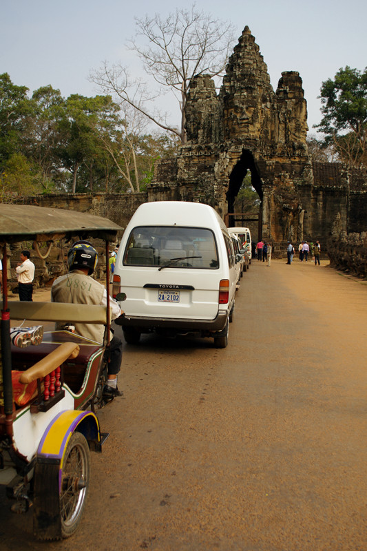 Traffic jam at the south gate of Angkor Thom