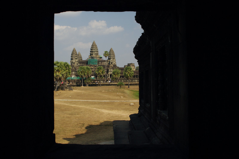 Angkor Wat through a window in the library