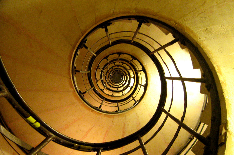 Looking up the Arc de Triomphe's 284 step spiral staircase