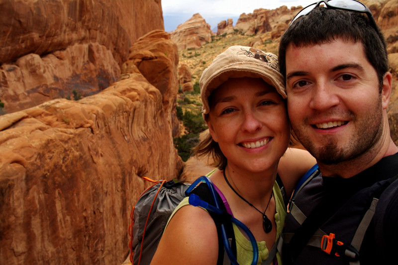 Stephanie and Justin hiking the Devils Garden Primitive Loop at Arches National Park
