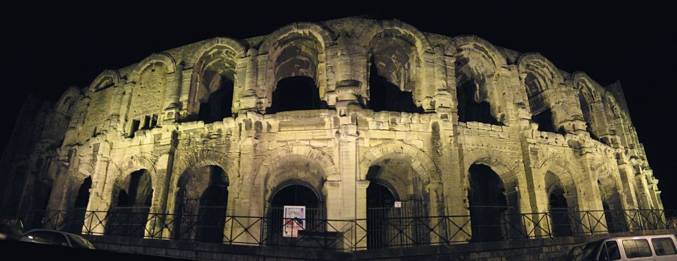 Arles' Roman arena at night