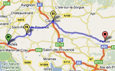 Arles to Baux to Pertuis map