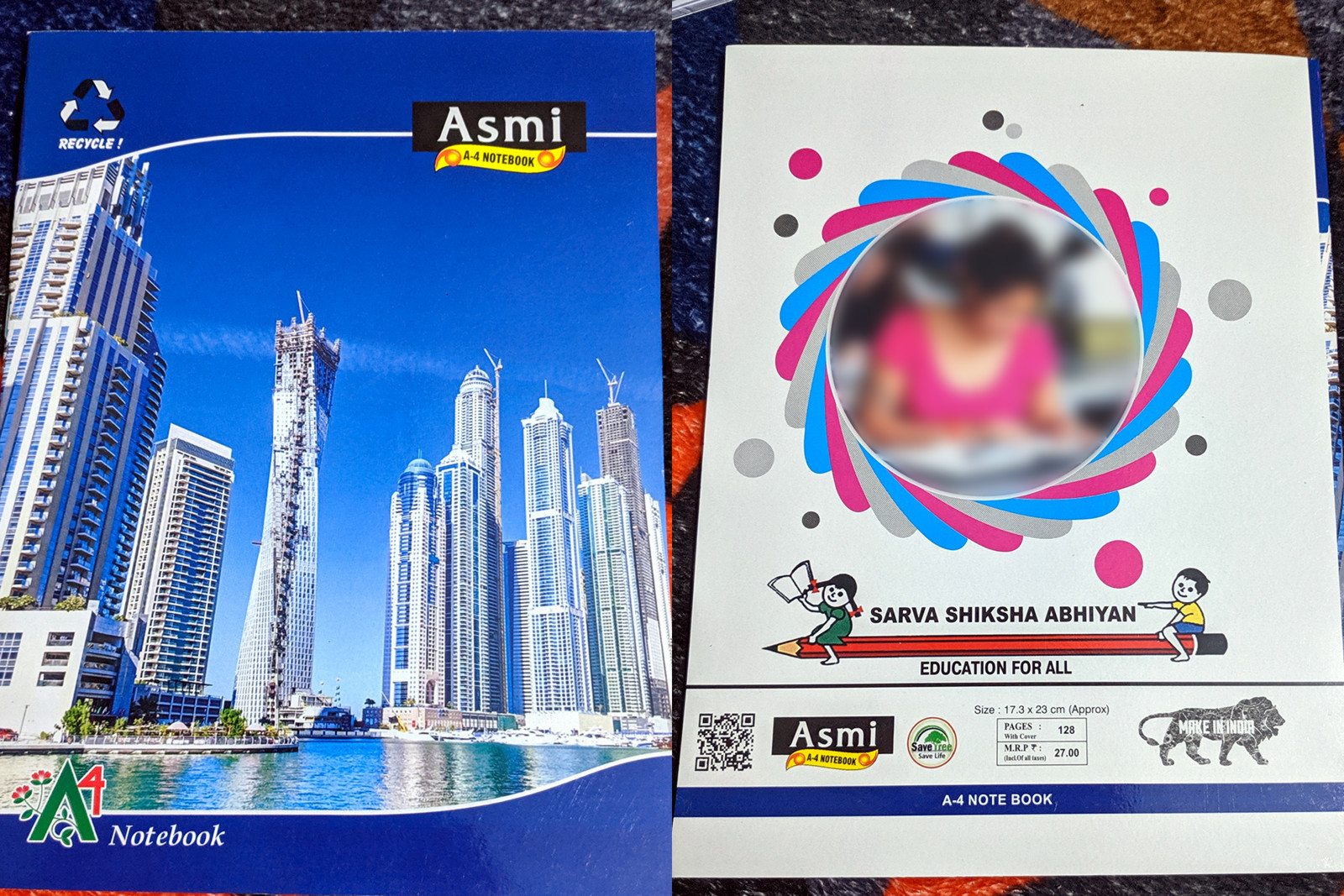 Front and back cover of an Asmi A4 Notebook from India