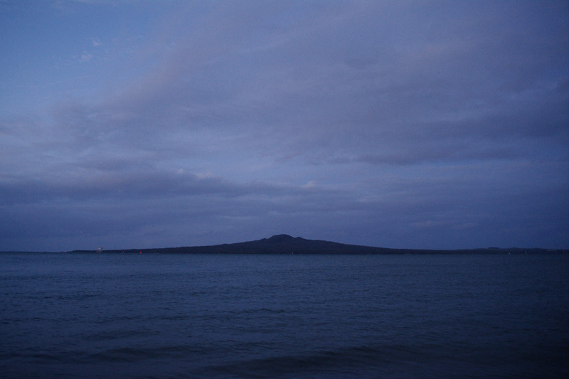 Rangitoto at dusk from Mission Bay