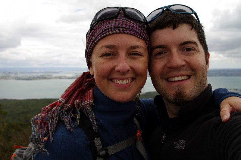 Stephanie and Justin at the summit of Rangitoto Island