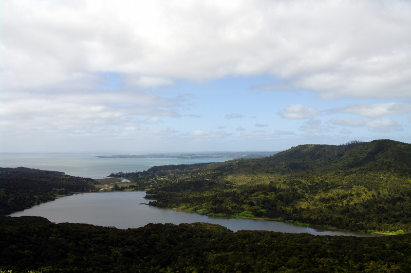 View of the Lower Nihotupu Reservoir from the Arataki Vistor's Center in Waitakere National park
