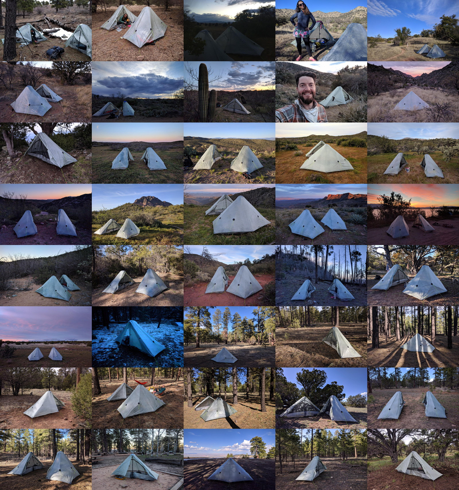 All 40 campsites from my 2019 thru-hike of the Arizona national Scenic Trail