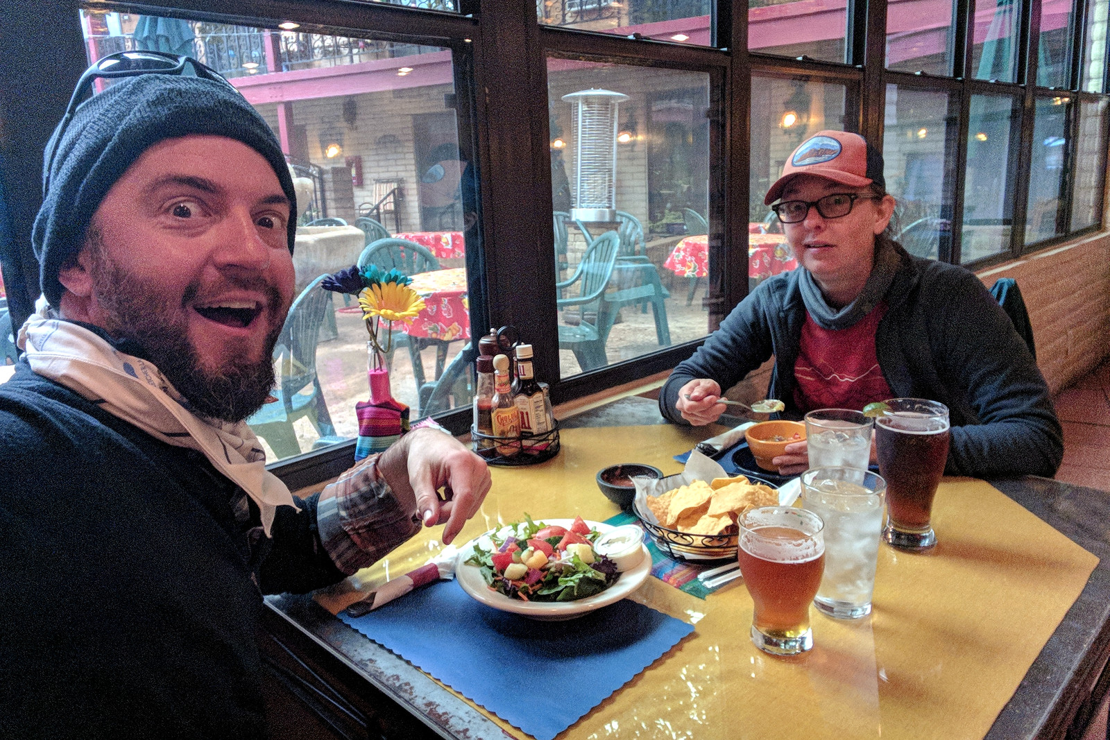 Dinner in Patagonia, AZ after 4 hellish days and 51 miles of backpacking the Arizona National Scenic Trail, NOBO