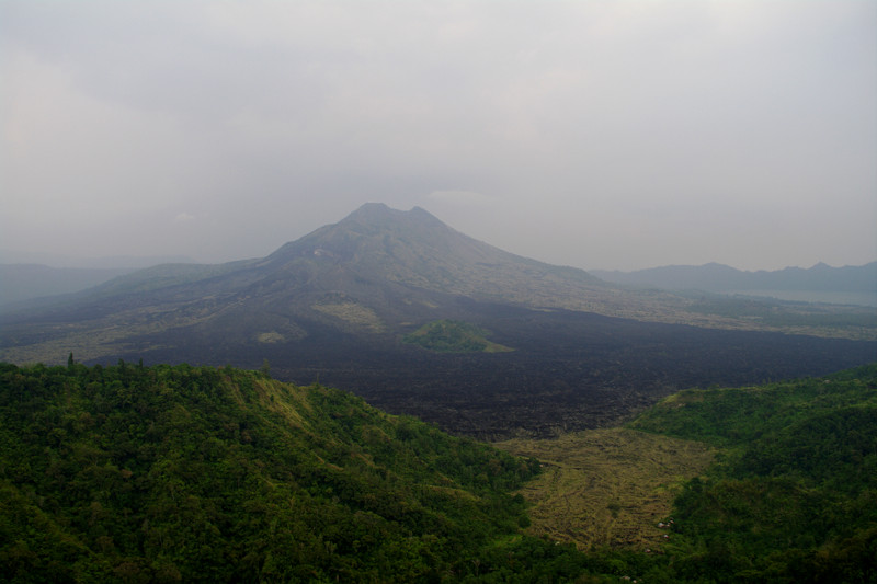 A hazy view of the Gunung Batur volcano