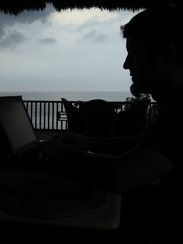 Justin updating WordPress from the Double One Restaurant in Amed, Bali