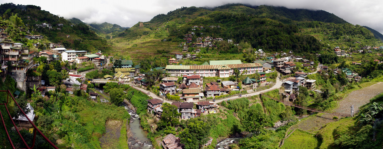 Looking across the town of Banaue towards the rice terraces