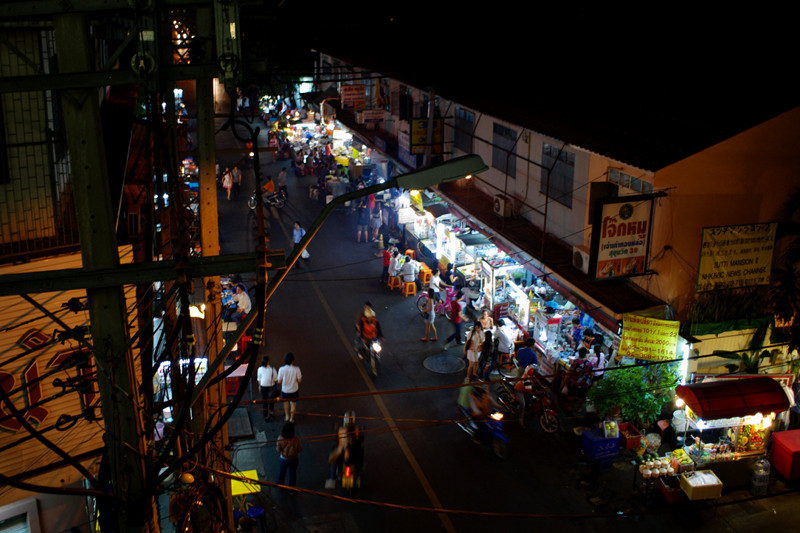 Evening street food market on Sukhumvit Soi 38 in Bangkok, Thailand
