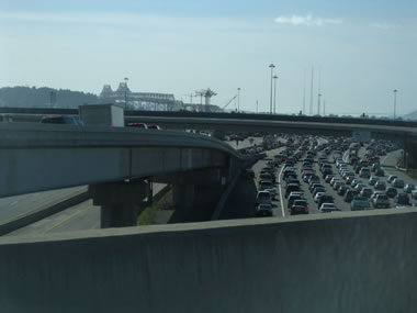 Traffic backed up before the Bay Bridge toll plaza