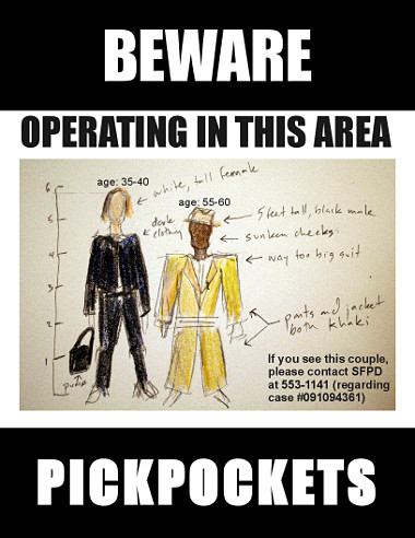 BEWARE PICKPOCKETS sign