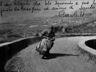 Mysterious old black and white Vespa photo