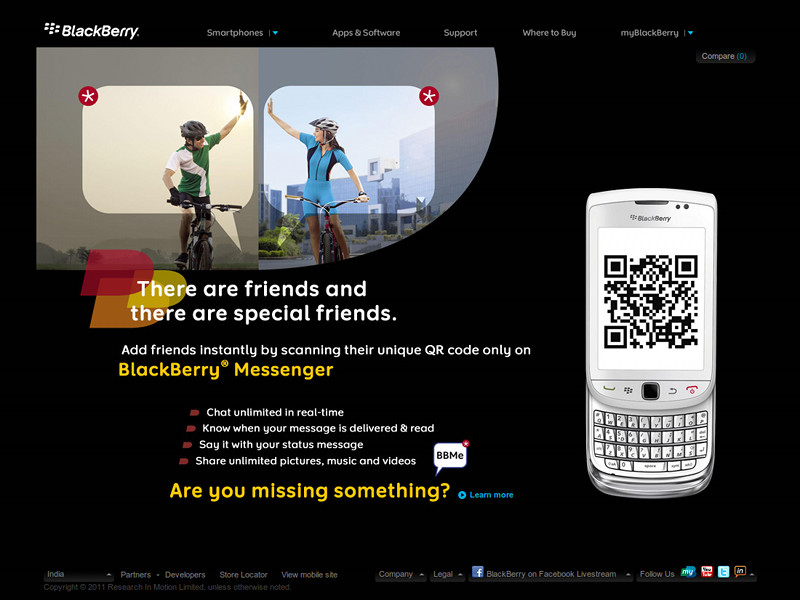 Homepage of BlackBerry India accidentally displaying a QR Code that points to justinsomnia.org