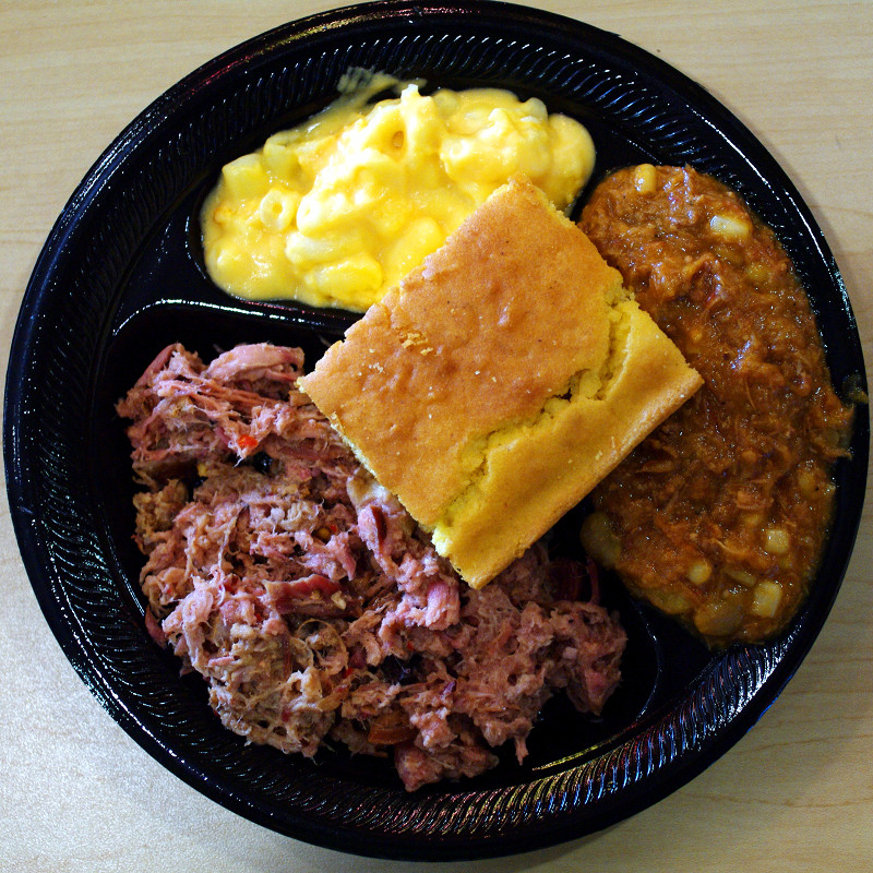 Barbecue plate from Brookward Farms with pulled pork, mac and cheese, brunswick stew, and cornbread
