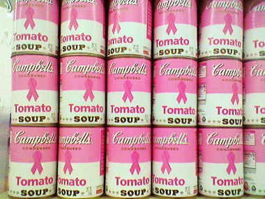 Warhol-esque pink cans of Campbell's Soup
