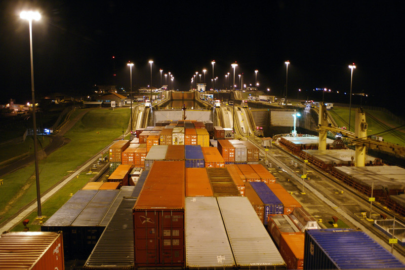 View from of the bridge of the Cap Cleveland approaching the Gatun Locks of the Panama Canal