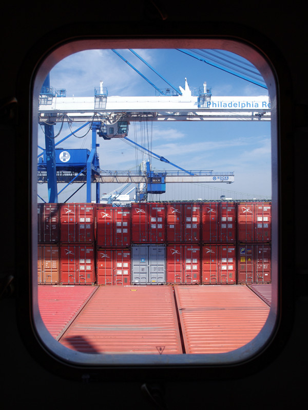 Cap Cleveland Owner's Cabin window view (in port of Philadelphia