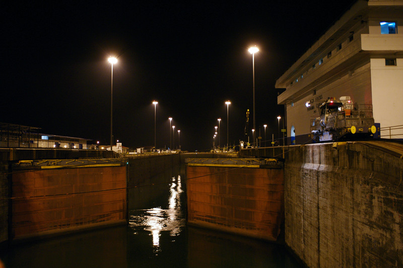 the first Gatun Lock of the Panama Canal opening