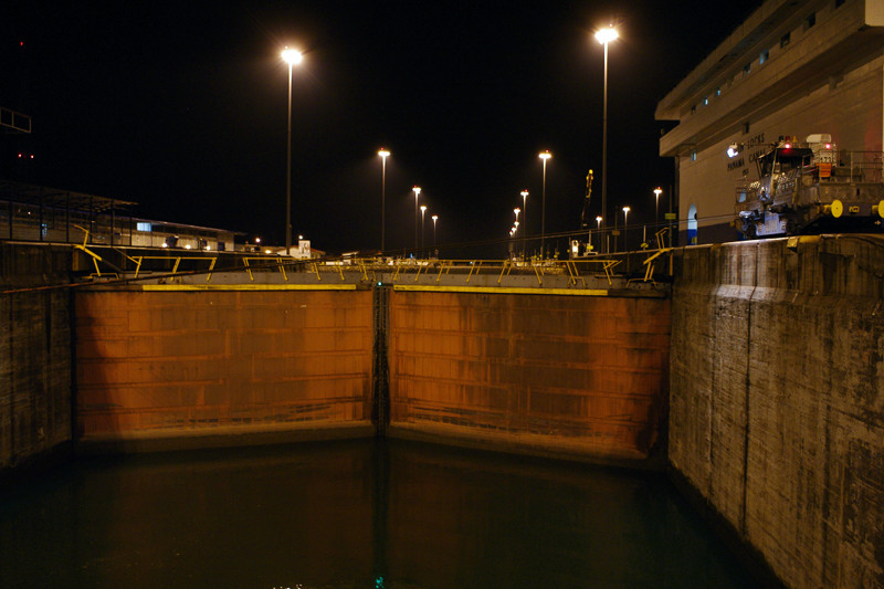 Doors of the first Gatun Lock of the Panama Canal at high water