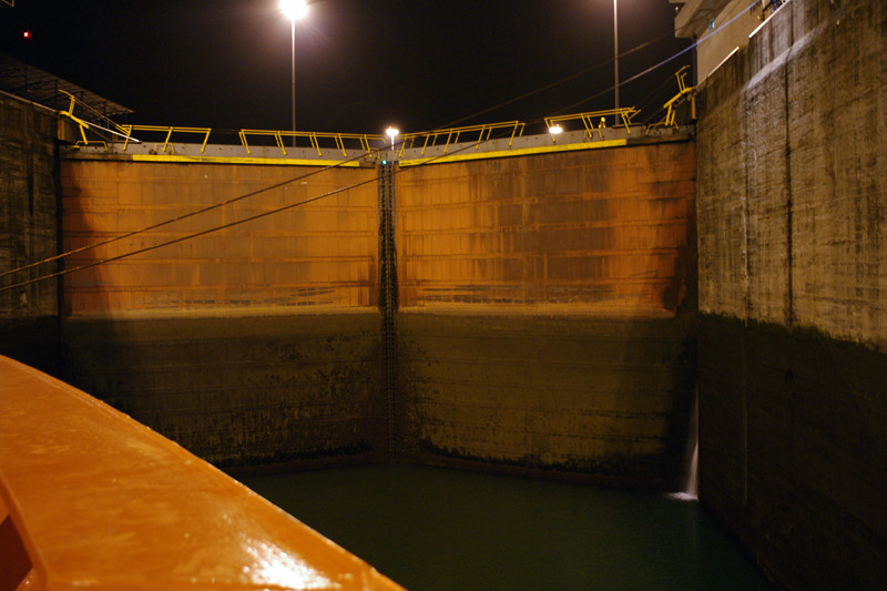 Doors of the first Gatun Lock of the Panama Canal at low water