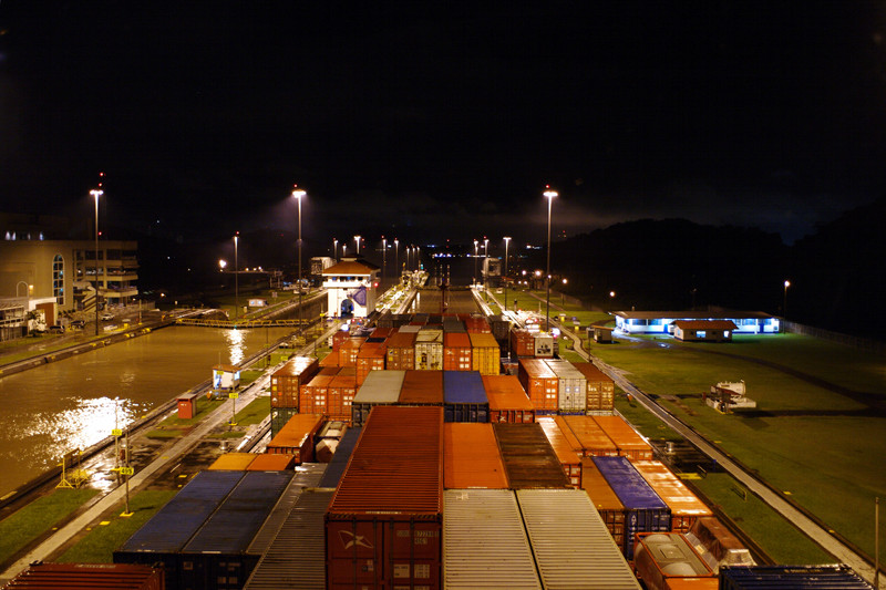 In the first Miraflores Lock of the Panama Canal