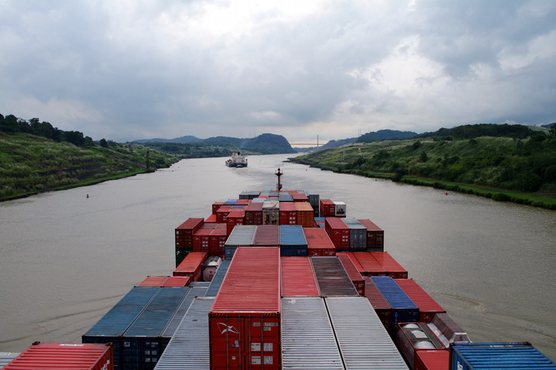 Passing through the Gaillard Cut of the Panama Canal