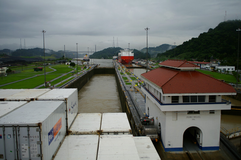 Looking back at the Pedro Miguel Locks of the Panama Canal