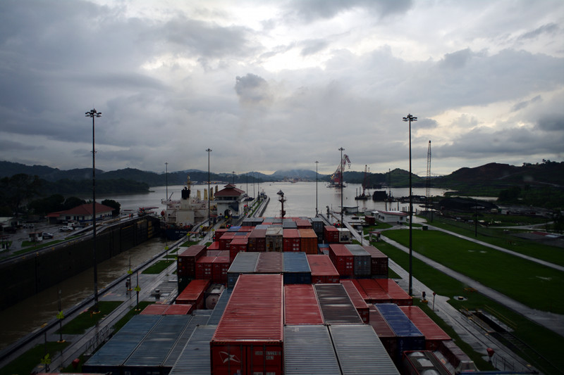 In the Pedro Miguel Locks of the Panama Canal