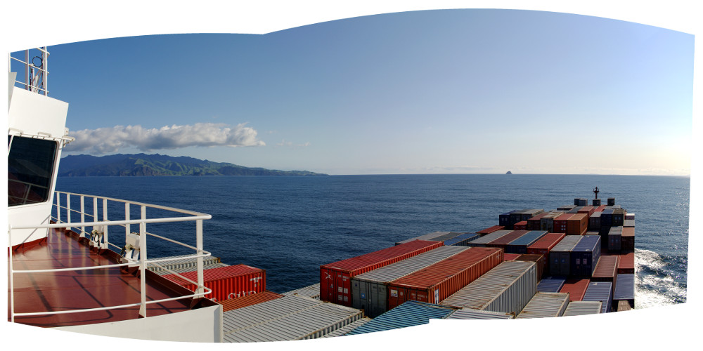 Panorama from the starboard wing of the bridge of the Cap Cleveland as we round Cape Colville