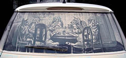 Car window dust painting