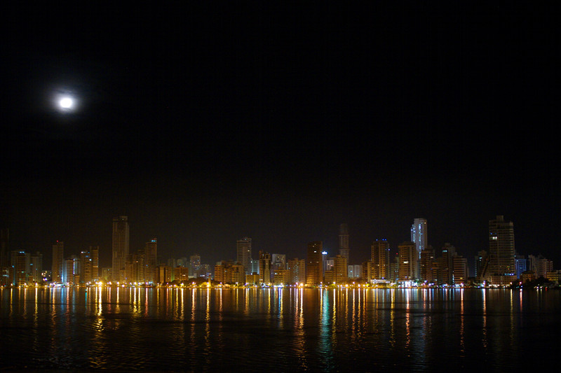 Cartagena, Colombia skyline reflections at night