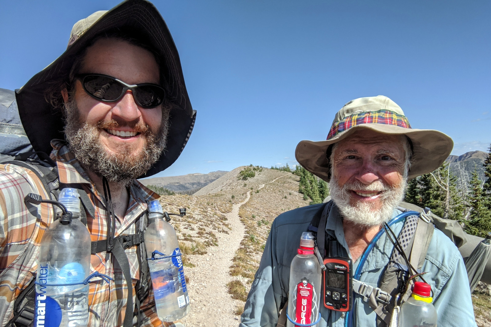 Justin and Dad (aka Tartan) after meeting up on the trail in the Weminuche Wilderness