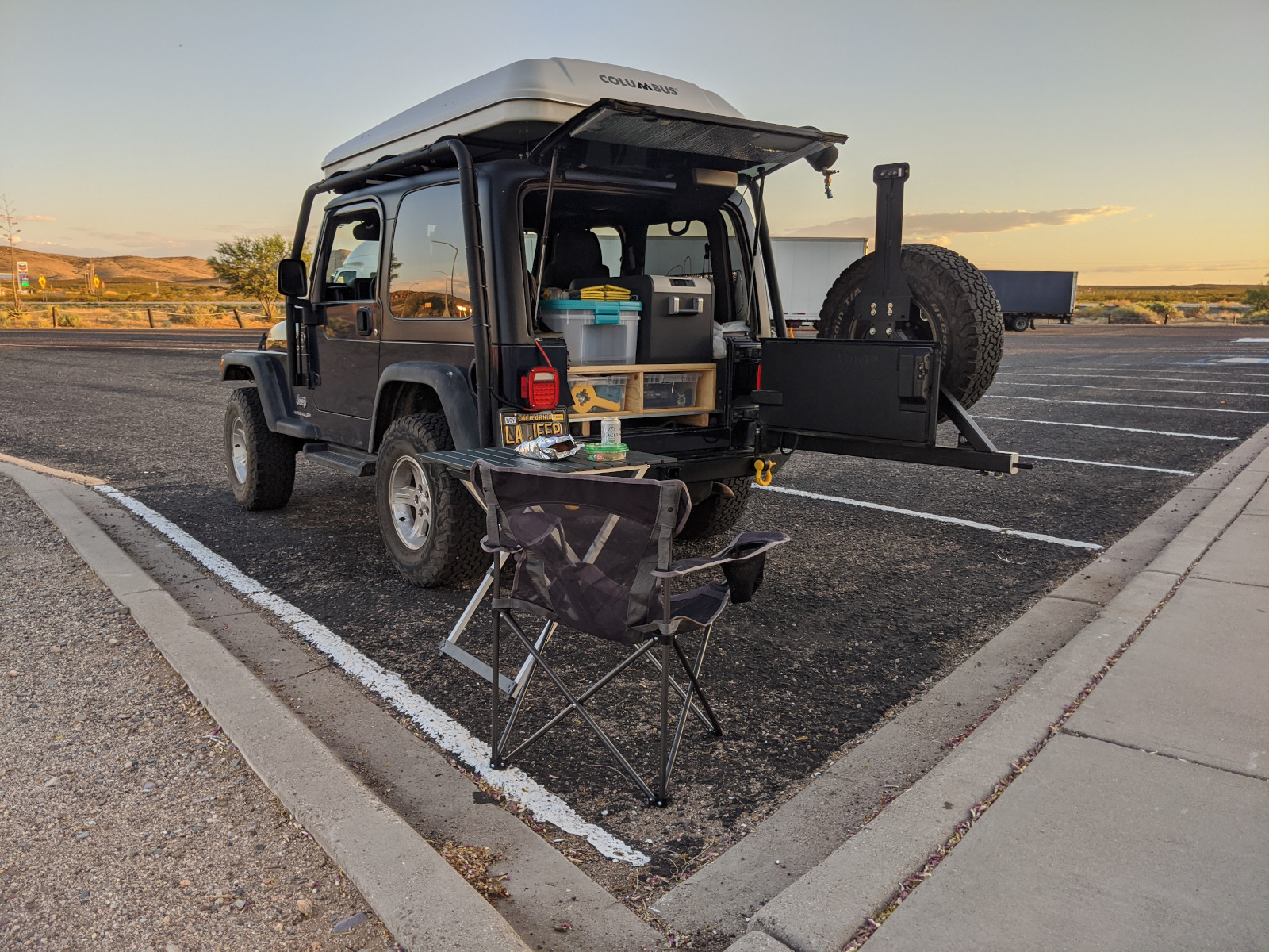 Setting up for the evening at a rest stop in Lordsburg, NM