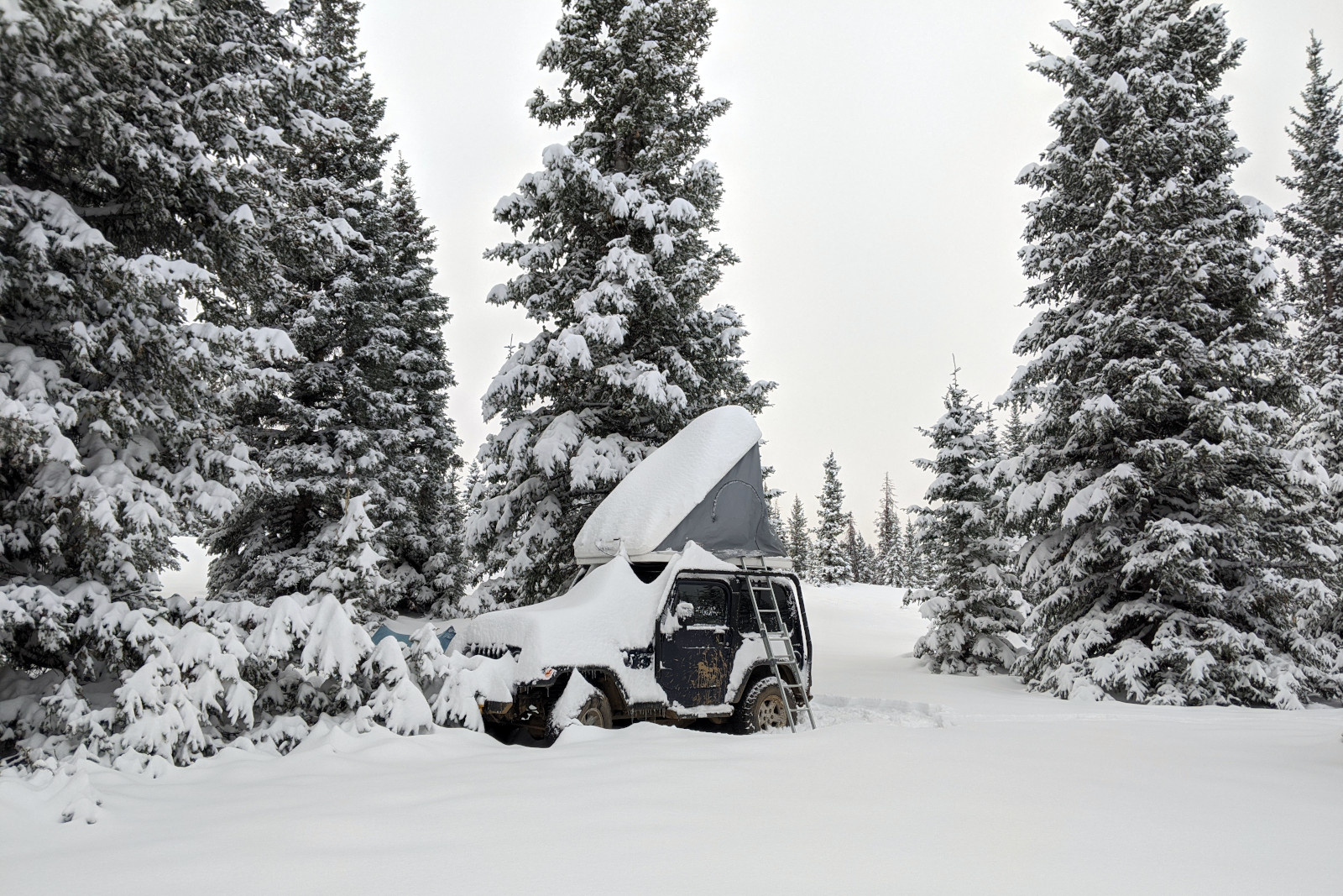 At least one foot of snow had fallen overnight, covering La Jeep and everything around it