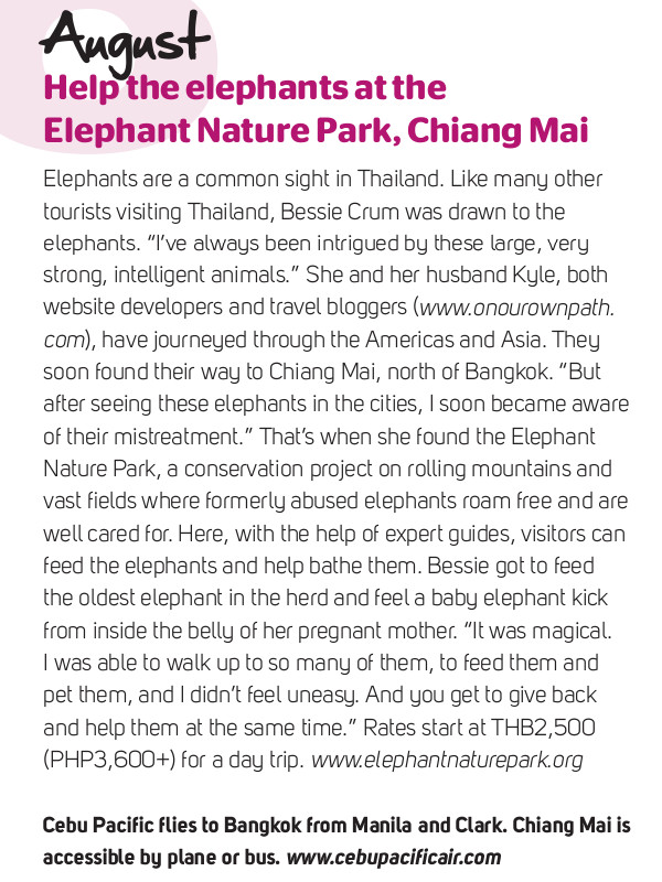 Elephant Nature Park review in Cebu Pacific's in-flight magazine, Smile, January 2011
