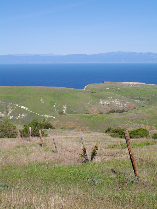 View towards the California coast from Santa Cruz Island, part of Channel Islands National Park