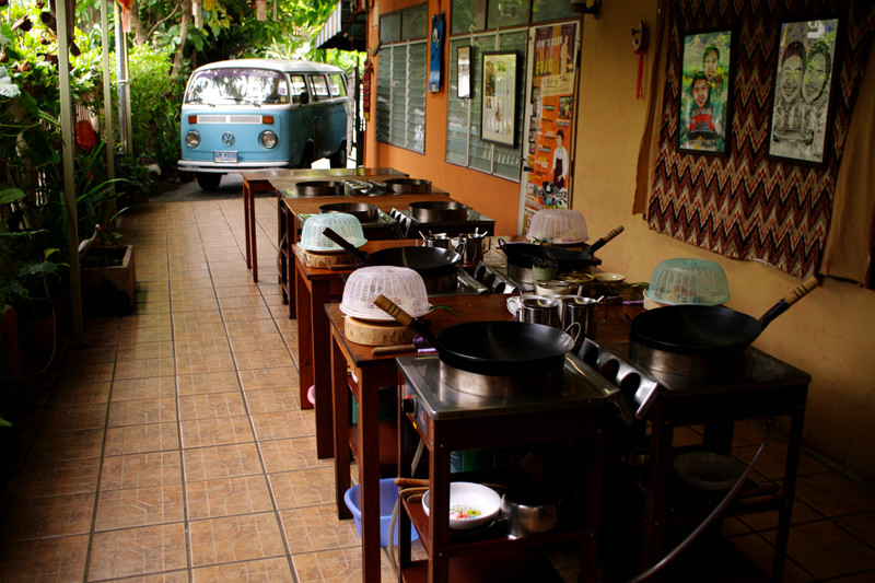 A lot of Thai's open-air kitchen classroom (complete with VW van) in Chiang Mai, Thailand