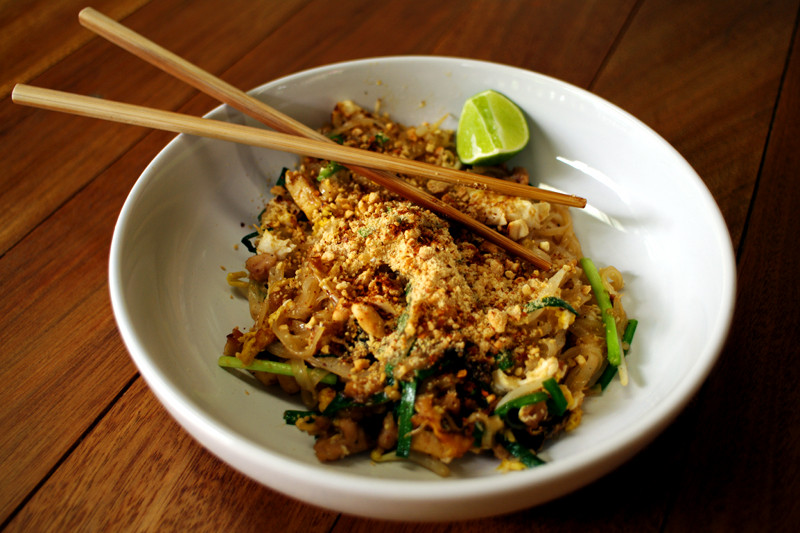 Tangy pad thai made at A lot of Thai cooking class in Chiang Mai, Thailand